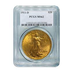 1911-D $20 Saint Gaudens PCGS MS62