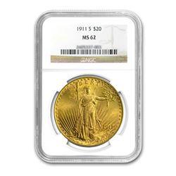 1911-S $20 Saint Gaudens NGC MS62