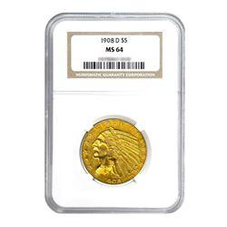 1908-D $5 Indian Gold Half Eagle MS64
