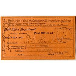 Belknap Unlisted Territorial Postal Card