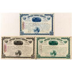 Moulton Mining Company Stock Trio w/ W.A. Clark Autographs