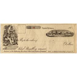 Rare Check for Holladay Overland Mail & Express Company