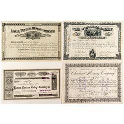 Four Territorial Montana Mining Stock Certificates