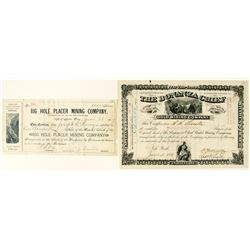 Two Different Territorial Montana Mining Stock Certificates