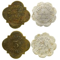 Two Stockholm Concert Hall Tokens