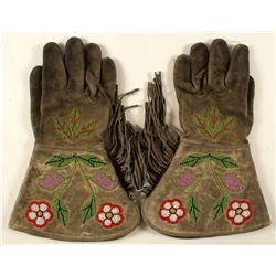 Native American Beaded Leather Gauntlets Gloves