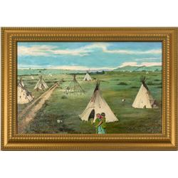 On the Plains (Oil Painting by E.A. Burbank)