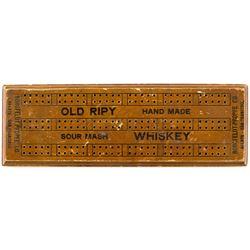 'Old Ripy Sour Mash Whiskey' Cribbage Board