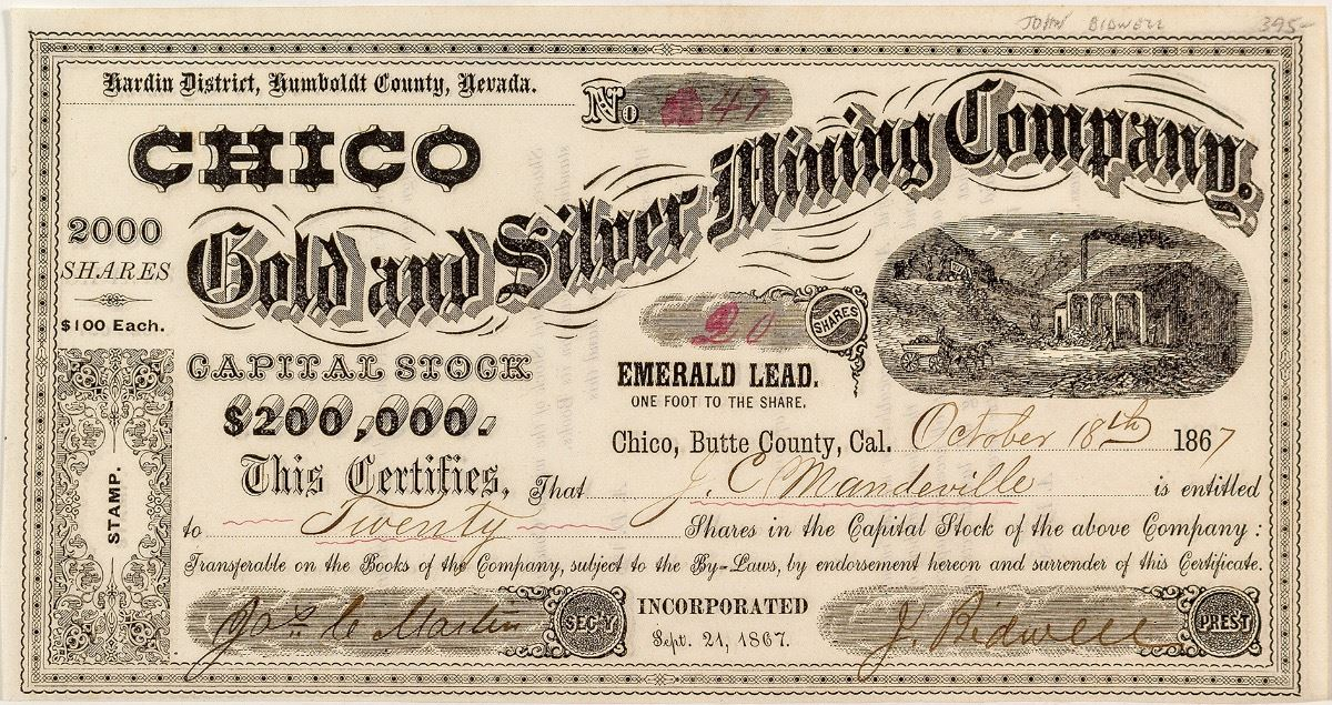 Chico Gold And Silver Mining Company Stock Signed By John Bidwell