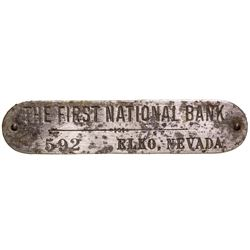 First National Bank of Elko Metal Tag