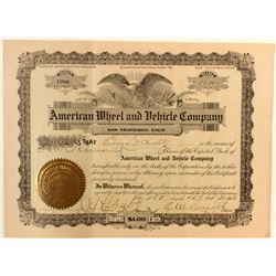 American Wheel & Vehicle Co. Stock Certificate