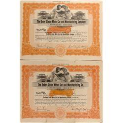 The Baker Steam Motor Car Stock Certificates