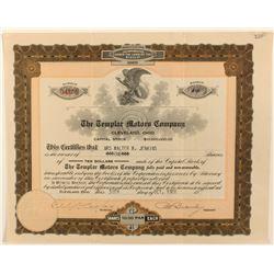 Templar Motors Stock Certificate
