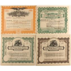 Automobile Battery Companies Stock Certificates