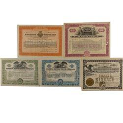 Five Automobile Stock Certificates
