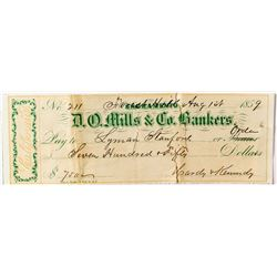 D.O. Mills & Co. Check issued to Leland Stanford's cousin