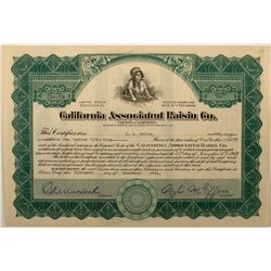 California Associated Raisin Co. Stock Certificate