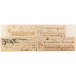 Four Adolph Sutro Signed Checks