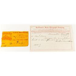 California State Telegraph Company Ephemera