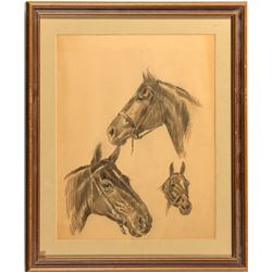 """""""Horse Studies"""" Pencil Sketch by Linwood Payson Ames"""