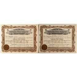 California Glass Company Stock Certificates