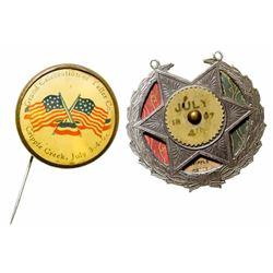 Two Cripple Creek Souvenir Buttons