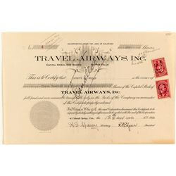 Travel Airways Inc. Stock Certificate