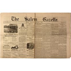 "1875 Issue of ""The Salem Gazette"" w/ Utah Avalanche Article"