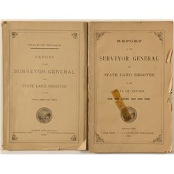 Two Nevada State Surveyor General Reports, 1883 and 1895 and a 1872 Nevada/Utah Map by S.A. Mitchell
