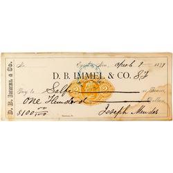 Rare D. B. Immel Check from Eureka, Nevada