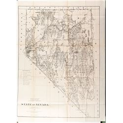 Large Nevada state map: 1876