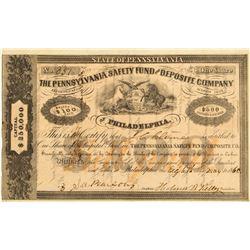 The Pennsylvania Safety Fund & Deposite Company of Philadelphia Stock Certificate