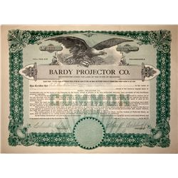Bardy Projector Company Stock Certificate