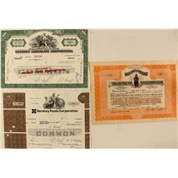 Hershey Chocolate & Hollands Coffee Stock Certificates