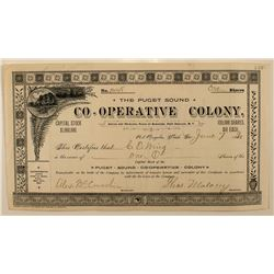 Puget Sound Co-Operative Colony Stock Certificate