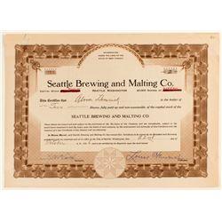Seattle Brewing Stock Certificate