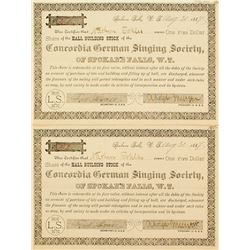 Two Choice Territorial Singing Society Stock Certificates