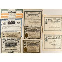 Washington Non-Mining & Non-Railroad Stock Certificates (12)