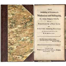 The Archbishop of Cambray's Meditations and Sololoquies (1756 Book)