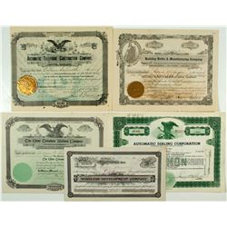 Telephone Construction Stock Certificates Group