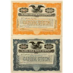 Two Alaska Gold Mines Co. Stock Certificates