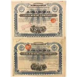 Two Alaska Mexican Gold Mining Co. Stock Certificates w/ Foreign Revenues