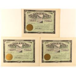 Three Unissued Stocks for Valdez  Hydraulic & Gold Mining Co.