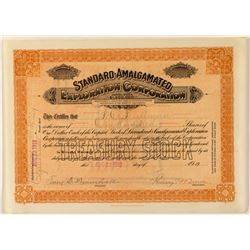 Standard-Amalgamated Exploration Corporation Stock Certificate