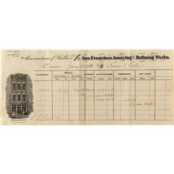 San Francisco Assaying and Refining Works, 1870 Assay Memorandum