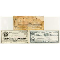 Three Sierra County mining stock certificates
