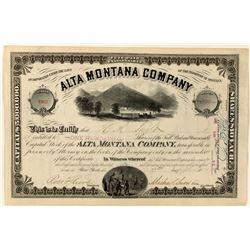 Alta Montana Company Stock Certificate