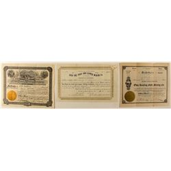Montana Gold Mining Stock Certificates