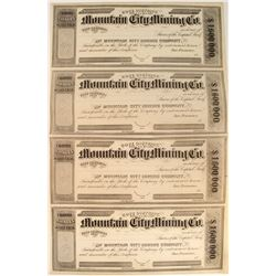 Mountain City Mining Company Stock Certificate Sheet