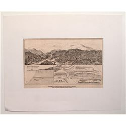 Matted illustration and map of Santa Fe Mining District